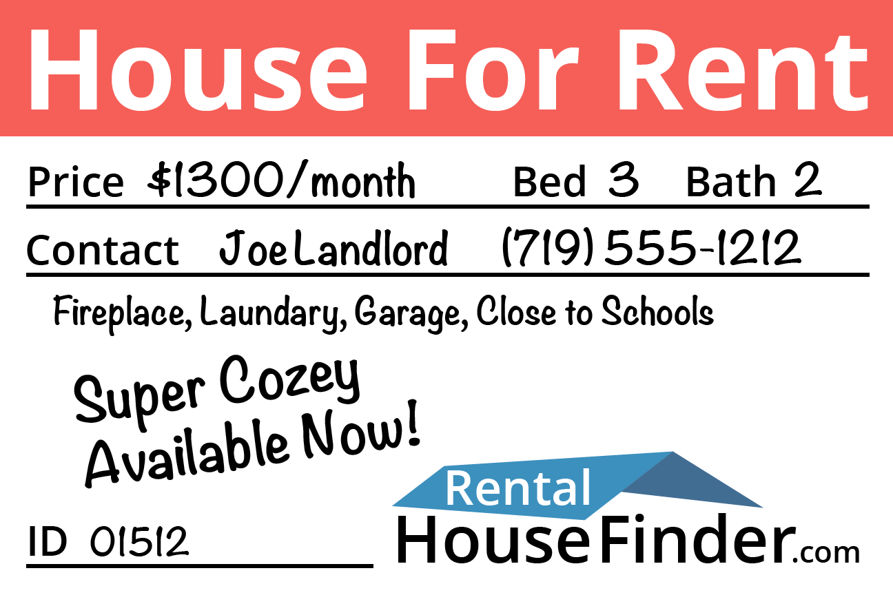 Free House for Rent Sign from RentalHouseFinder.com Listing Service