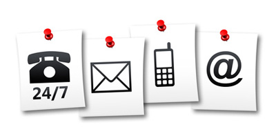 Alternate Point of Contact Landlords Icons 24/7, mail, cellular, email